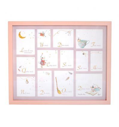 moulin roty - cornice portafoto nascita (rosa)