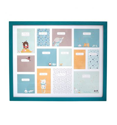 moulin roty - baby's first year photo frame (blue)