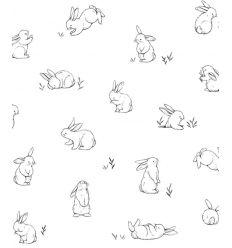 lilipinso - carta da parati conigli bunnies sketches