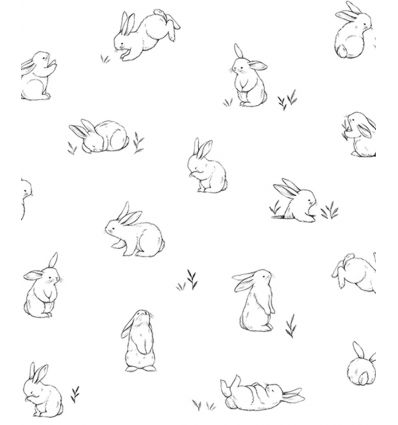 lilipinso - carta da parati conigli bunnies sketches