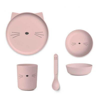 liewood - set pappa in bambù gatto rosa