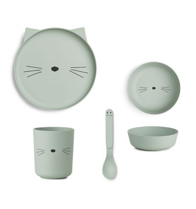 liewood - bamboo dinner set cat mint