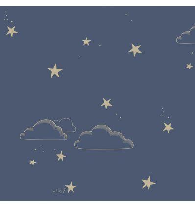hibou home - carta da parati starry sky (indingo/gold)