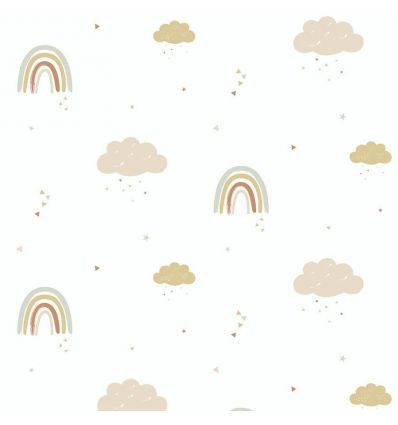 hibou home - carta da parati rainbows (mustard/rose)