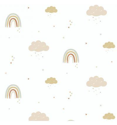 hibou home - wallpaper rainbows (mustard/rose)