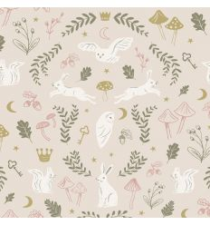 hibou home - carta da parati woodland wonders (dusty pink/olive)