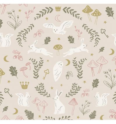 hibou home - carta da parati woodland wonders (dusty pink/olive)