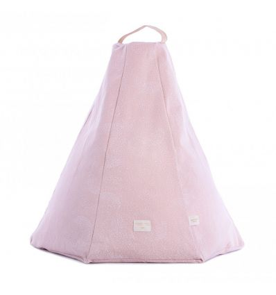 nobodinoz - pouf marrakech (white bubble/misty pink)
