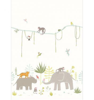 casadeco - murale in carta da parati animali della giungla