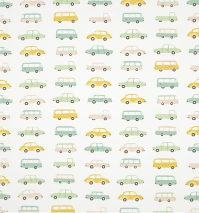 casadeco - tessuto d'arredo vintage cars (azzurro)
