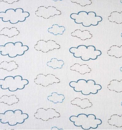 camengo - fabric with embroidered clouds voyage