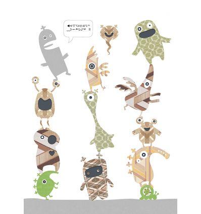 inke - wall mural stack-o-monsters
