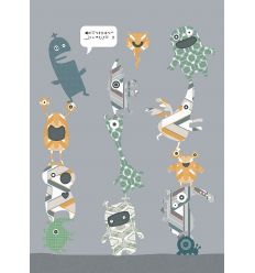 inke - wall mural stack-o-monsters orange