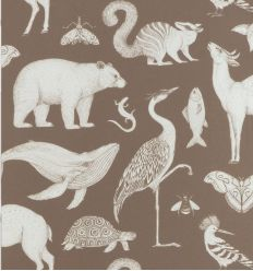 ferm living - katie scott wallpaper animals (toffee)