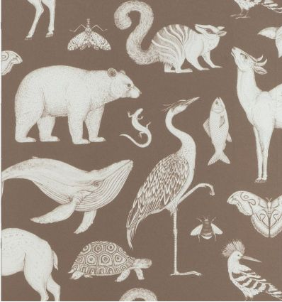 ferm living - carta da parati katie scott animals (toffee)