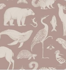 ferm living - katie scott wallpaper animals (dusty rose)
