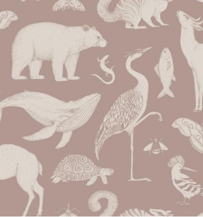 ferm living - carta da parati katie scott animals (dusty rose)