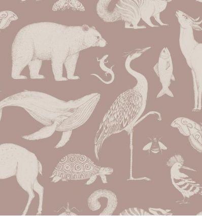 ferm living - katie scott wallpaper animals (dusty rose)