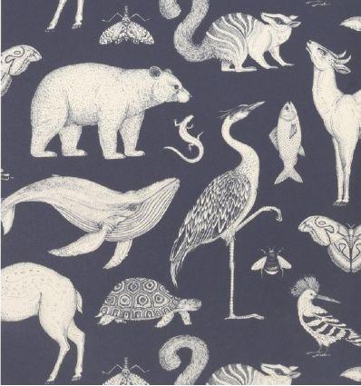 ferm living - katie scott wallpaper animals (dark blue)