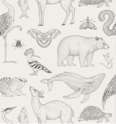 ferm living - carta da parati katie scott animals (off-white)