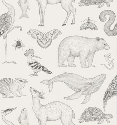 ferm living - katie scott wallpaper animals (off-white)