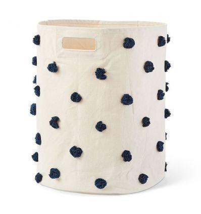 pehr - cesto grande portagiochi con pom pom blu navy