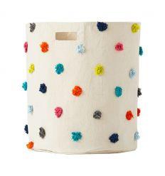 pehr - cesto grande portagiochi con pom pom multicolor