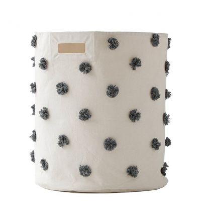 pehr - cesto grande portagiochi con pom pom grigio scuro