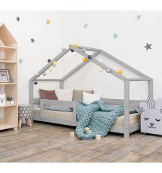 benlemi - letto casa montessori lucky (grigio)