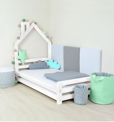 benlemi - letto casa montessori wally (bianco)