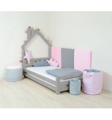 benlemi - montessori house bed wally (grey)