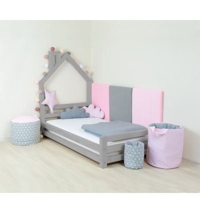 benlemi - letto casa montessori wally (grigio)