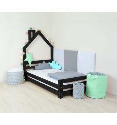 benlemi - letto casa montessori wally (nero)