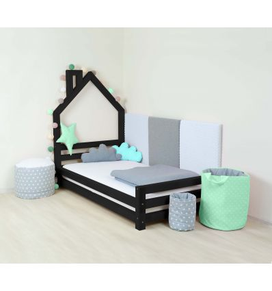 benlemi - montessori house bed wally (black)