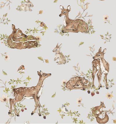 dekornik - carta da parati deer meadow white