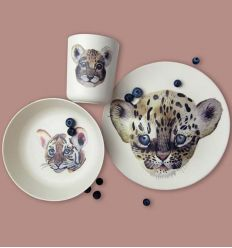 nuukk - bamboo dinner set leopard & friends