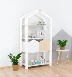 benlemi - libreria montessori a casetta tally (bianco)