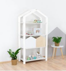 benlemi - montessori wooden house shelf tally (white)
