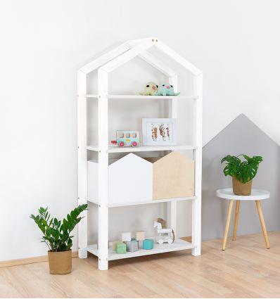 benlemi - montessori wooden house shelf tally (white)