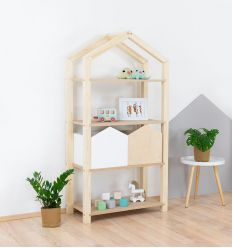 benlemi - montessori wooden house shelf tally (natural decor)