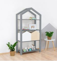 benlemi - montessori wooden house shelf tally (grey)