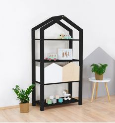 benlemi - montessori wooden house shelf tally (black)