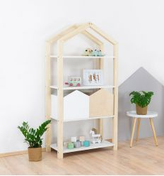 benlemi - montessori wooden house shelf tally (natural decor/white)