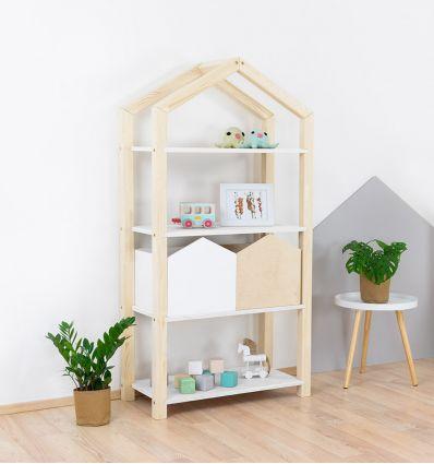 benlemi - libreria montessori a casetta tally (naturale/bianco)