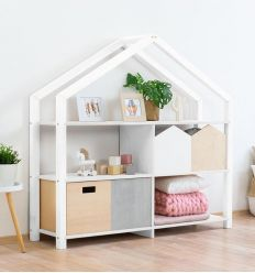 benlemi - montessori wooden house shelf shelly (white)