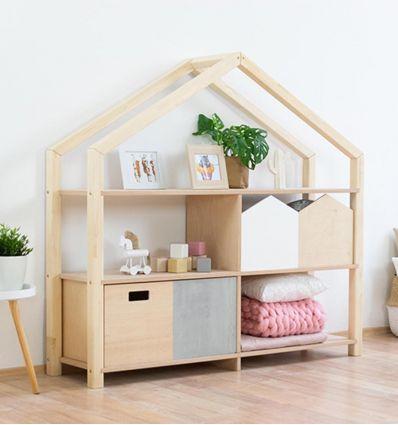 benlemi - montessori wooden house shelf shelly (natural decor)