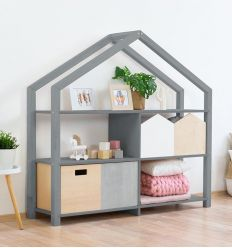 benlemi - montessori wooden house shelf shelly (grey)