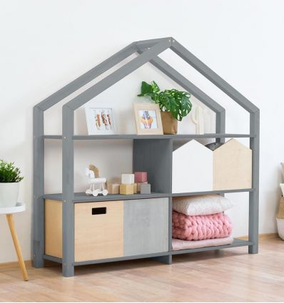benlemi - montessori wooden house shelf shelly (grey)