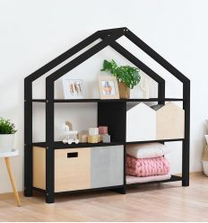 benlemi - montessori wooden house shelf shelly (black)
