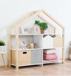 benlemi - libreria montessori a casetta shelly (naturale/bianco)